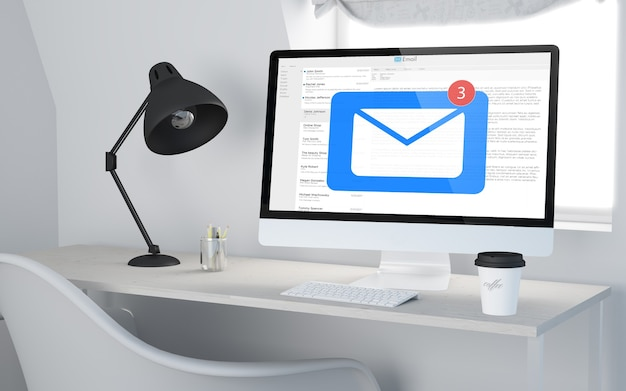 3d-rendering eines desktop-arbeitsplatzes mit computer, der mail empfängt