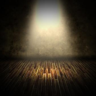 3d-rendering eines dunklen innenraums mit leuchtendem scheinwerfer