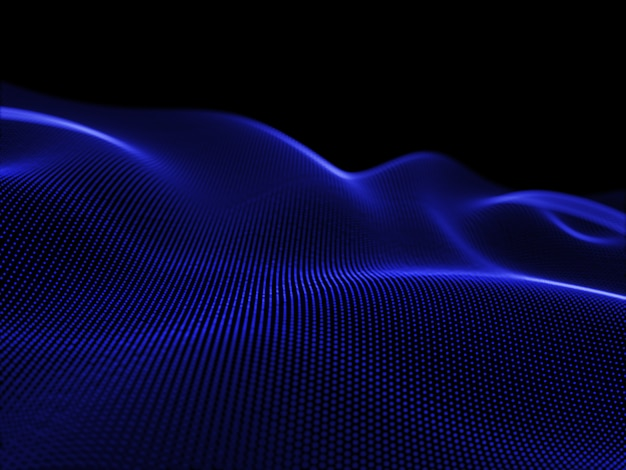 3d-rendering eines fließenden partikels schafft eine attraktive landschaft, moderne technologie