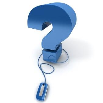 3d-rendering eines fragezeichens, das mit einer computermaus verbunden ist