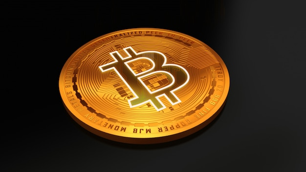 3d-rendering eines goldenen bitcoin. virtuelles geld.