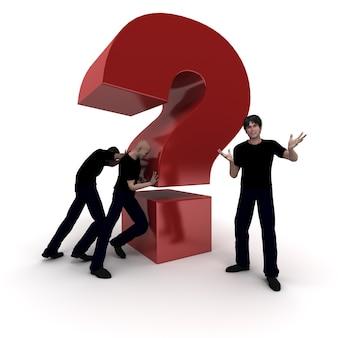 3d-rendering eines großen roten fragezeichens, das von einem arbeitsteam gedrückt wird