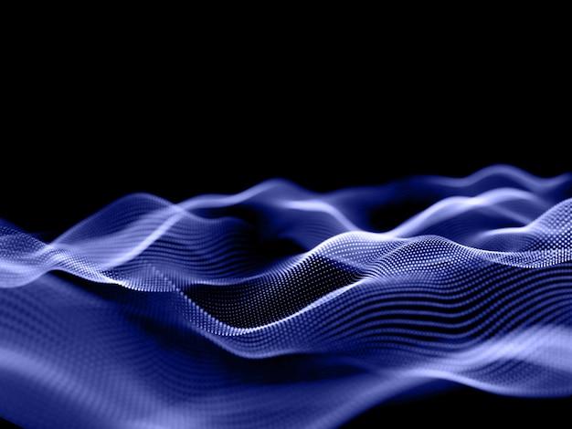 3d-rendering eines hintergrunds mit fließenden partikeln mit geringer schärfentiefe