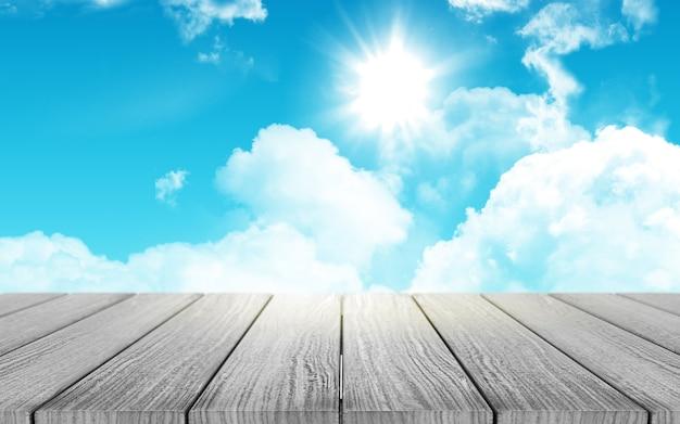 3d-rendering eines holztischs mit blick auf einen sonnigen himmel