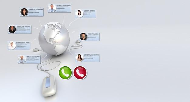 3d-rendering eines internationalen online-meetings