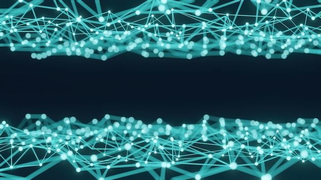 3d-rendering eines konzepts der abstrakten wissenschaft in blautönen mit vielen linien und punkten.