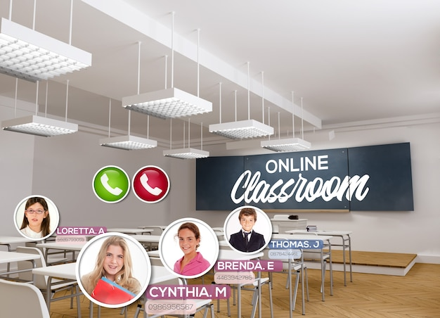 3d-rendering eines leeren klassenzimmers mit den worten online-klassenzimmer an der tafel und einer videokonferenz, die stattfindet