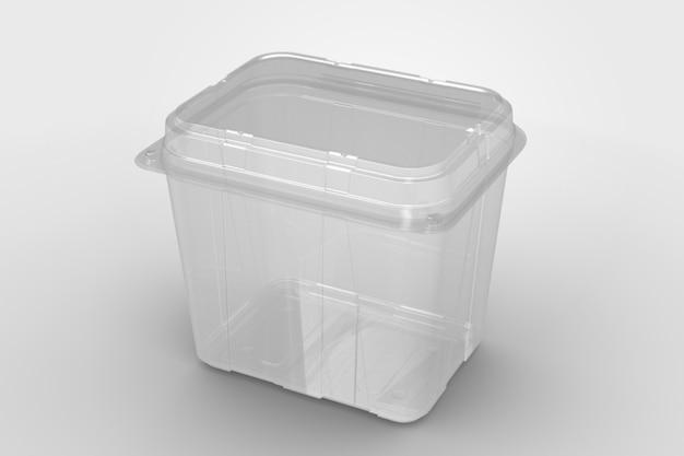 3d-rendering eines leeren transparenten hohen muschelbehälters isoliert auf weißem hintergrund. geeignet für design-projekt.