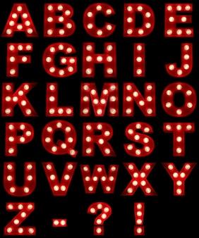 3d-rendering eines leuchtenden alphabets, ideal für showbusiness-zeichen