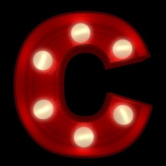 3d-rendering eines leuchtenden buchstabens c, ideal für zeichen des showbusiness