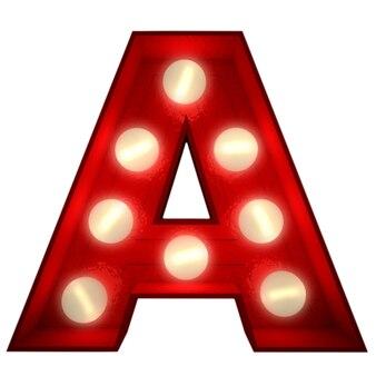 3d-rendering eines leuchtenden buchstabens ideal für showbusiness-schilder
