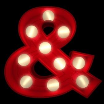 3d-rendering eines leuchtenden & symbols, ideal für zeichen des showbusiness