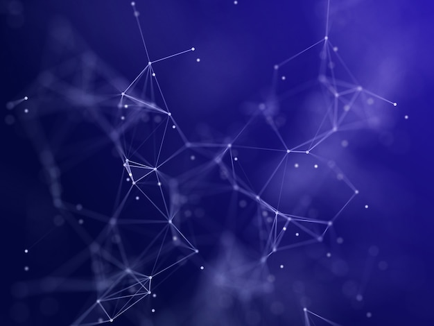 3d-rendering eines low-poly-plexus-netzwerkkommunikationsdesigns