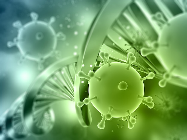 3d-rendering eines medizinischen hintergrunds mit dna-strang- und viruszellen