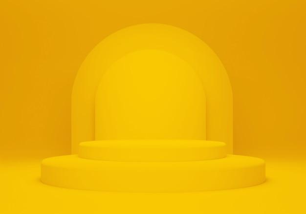 3d-rendering eines minimalistischen orangefarbenen podiums auf orangefarbenem hintergrund für die produktpräsentation