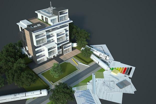 3d-rendering eines modells für eine nachhaltige gebäudearchitektur mit bauplänen, energieeffizienzdiagrammen und anderen dokumenten