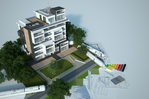 3d-rendering eines nachhaltigen gebäudearchitekturmodells mit blaupausen