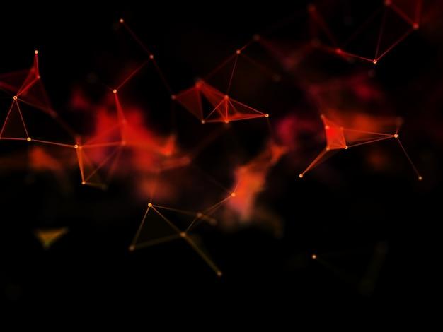 3d-rendering eines netzwerkkommunikationsdesigns mit geringer schärfentiefe
