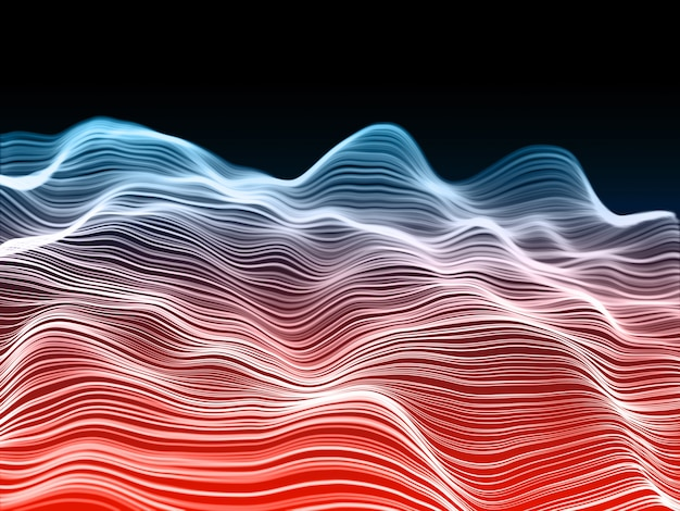 3d-rendering eines netzwerkkommunikationshintergrunds mit fließenden wellen