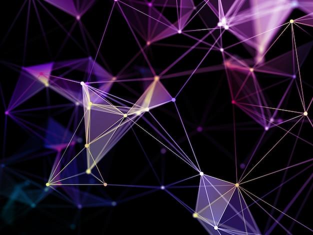 3d-rendering eines netzwerkkommunikationshintergrunds mit niedrigem polyplexus-design