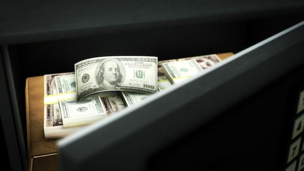 3d-rendering eines offenen safes mit geld und gold