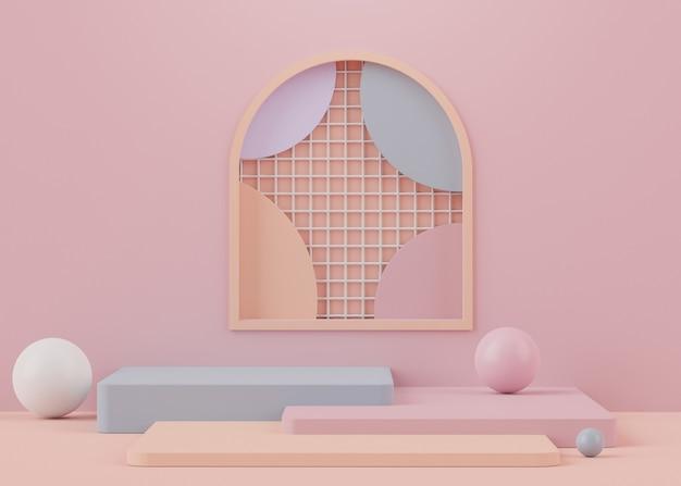 3d-rendering eines podiums mit geometrischen formen