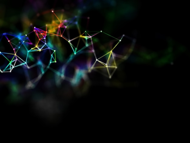 3d-rendering eines regenbogenfarbenen low-poly-plexud-designs