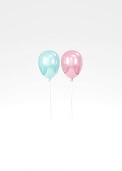 3d-rendering eines rosa und blauen ballons, der auf weißem hintergrund schwimmt, konzept der gender-enthüllung