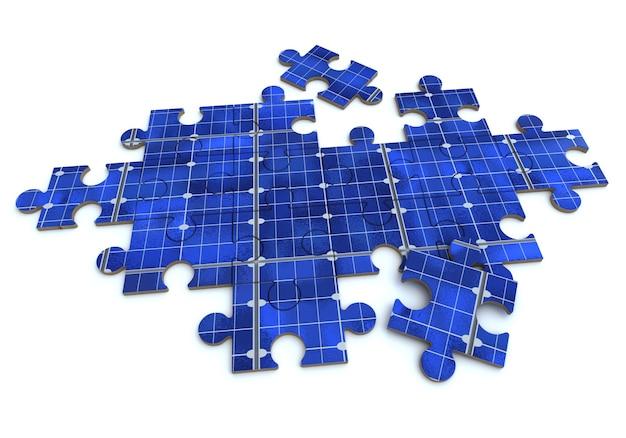 3d-rendering eines sich bildenden puzzles mit einer solarpanel-textur