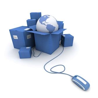 3d-rendering eines stapels blauer kartons mit einer weltkarte, die mit einer computermaus verbunden ist