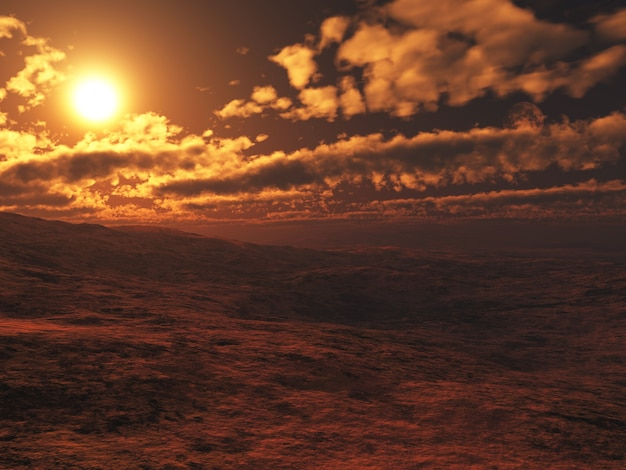 3d-rendering eines surrealen mars-landschaftshintergrunds
