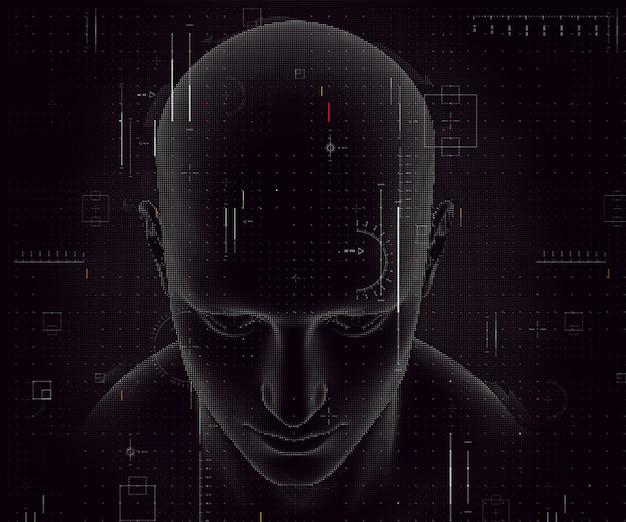 3d-rendering eines techno-hintergrunds mit männlicher figur und codierungsdesign
