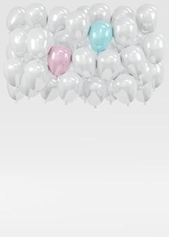 3d-rendering eines weißen ballons, der auf dem hintergrund schwimmt, mit rosa und blauem konzept der gender-enthüllung