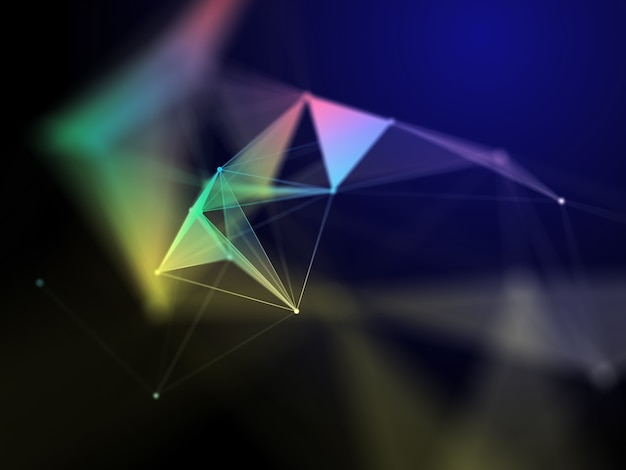 3d-rendering eines wissenschaftlichen hintergrunds mit niedrigem polyplexus-design