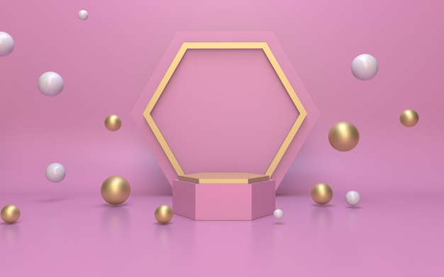 3d-rendering einfaches minimalistisches rotgold-sechseck-podium für die produktanzeige