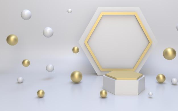 3d-rendering einfaches minimalistisches schwarzgold-podium für die produktanzeige