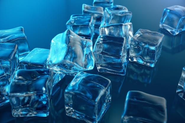3d-rendering-eiswürfel auf blauem farbtonhintergrund. gefrorener wasserwürfel
