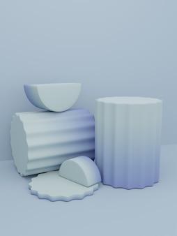 3d-rendering farbverlauf studio shot product display hintergrund mit rundem säulenplattformblock