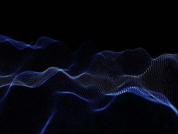 3d-rendering fließender partikel - modernes techno-design
