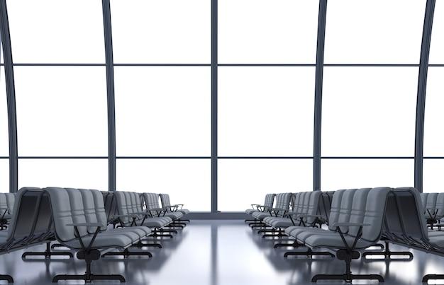 3d-rendering flughafenterminal mit glasfenstern und leeren sitzen