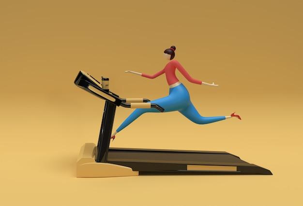 3d-rendering frau laufband-maschine auf einem fitness-hintergrund laufen.