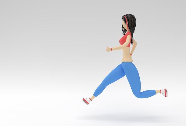 3d-rendering frau runnin auf einem fitness-hintergrund.
