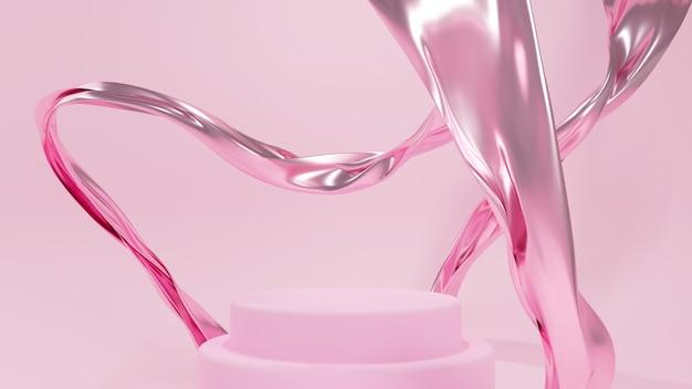 3d-rendering für podiumsstand, bühnenshow, podestsieger. hintergrund abstraktes rosa seidengewebe fliegen.