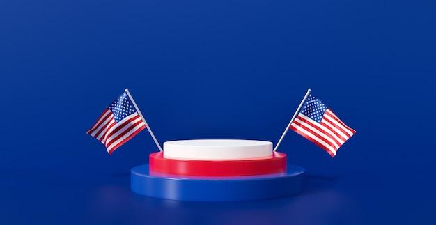 3d-rendering für presidents day banner. amerikanische flagge mit display-podestständer auf blauem hintergrund.