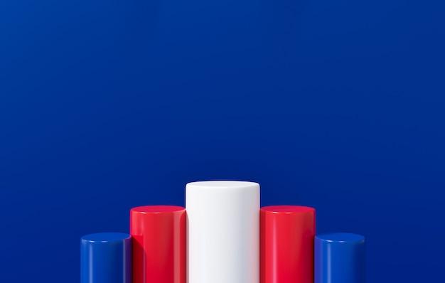 3d-rendering für presidents day banner. amerikanischer präsidententag mit display-podestständer auf blauem hintergrund.