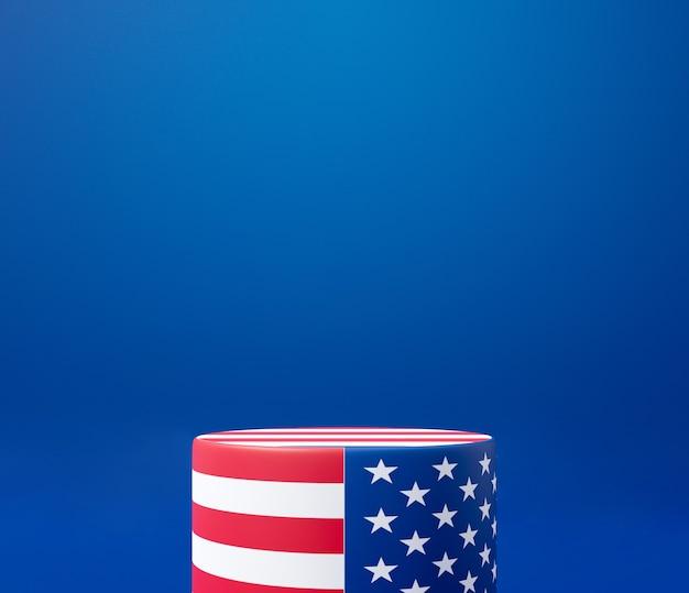 3d-rendering für presidents day banner. podiumsständer auf blauem hintergrund anzeigen.