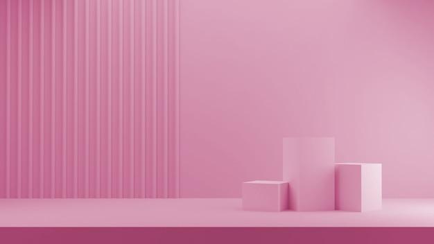 3d-rendering für shop-anzeige. drei podiumrosa würfel in pastellfarben und gestreiftem hintergrund.