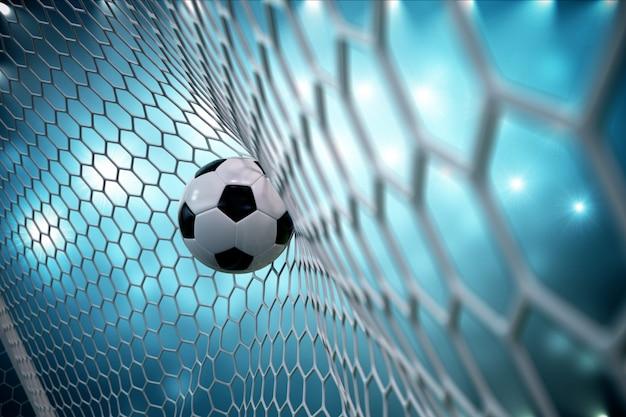 3d-rendering-fußball im tor. fußball im netz mit scheinwerfer- und stadionlichthintergrund, erfolgskonzept. fußball auf blauem hintergrund.