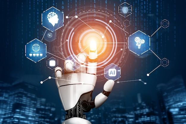 3d-rendering futuristische robotertechnologieentwicklung, künstliche intelligenz ai