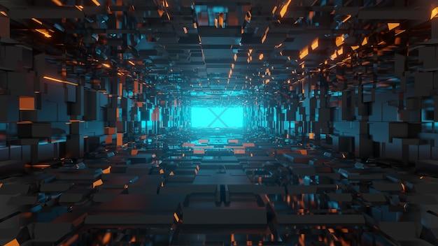 3d-rendering futuristische science-fiction-umgebung, abstrack beleuchteter leerer tunnel
